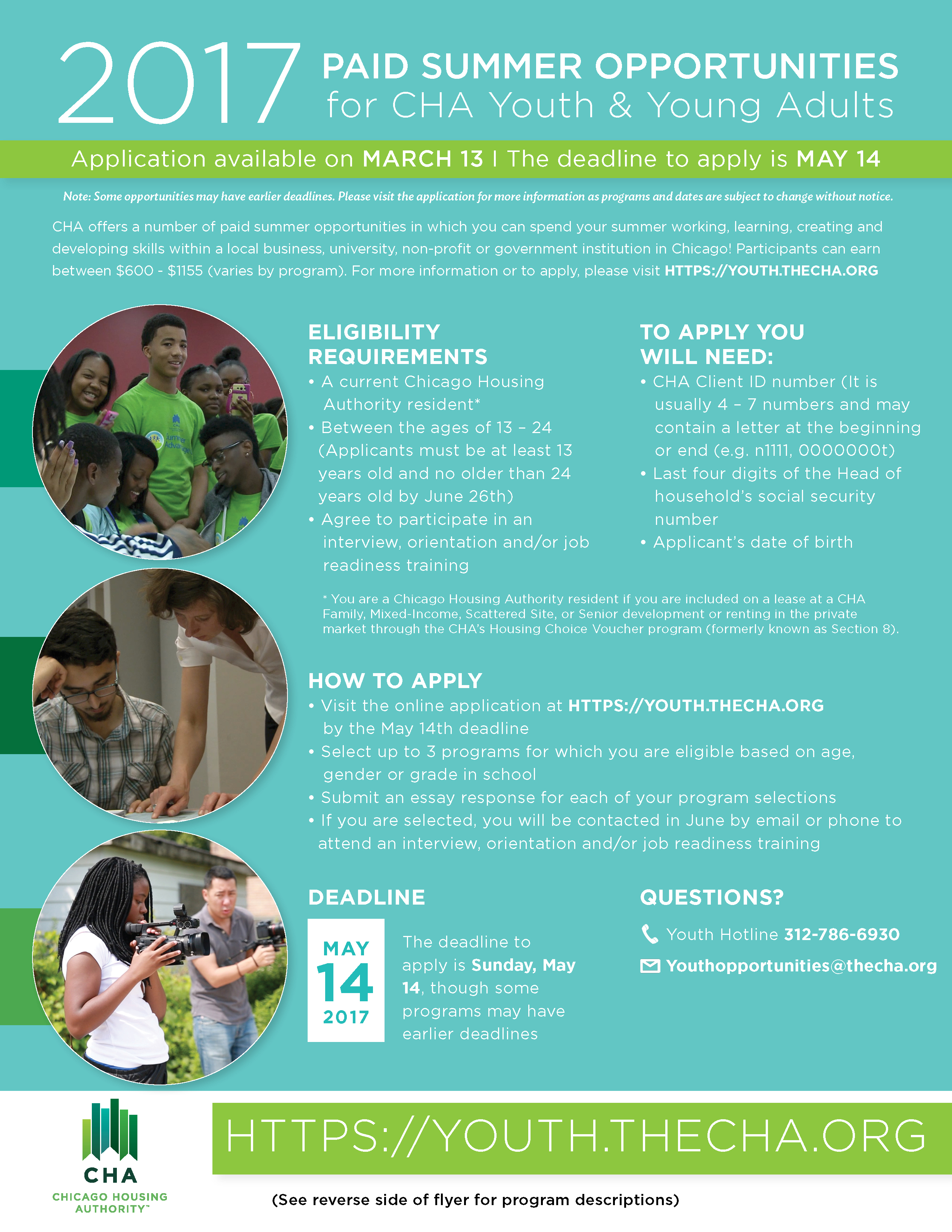 Registration For Cha 2017 Summer Youth Opportunities Now Open The Chicago Housing Authority